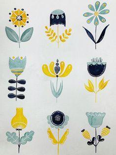 Folk Art Flowers, Flower Art, Painting Flowers, Art Scandinave, Bordado Popular, Illustration Blume, Scandinavian Folk Art, Scandinavian Pattern, Arte Popular