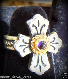 JAMES AVERY Lily Cross Ring 14kt and Sterling Silver with Amethyst BEAUTIFUL!