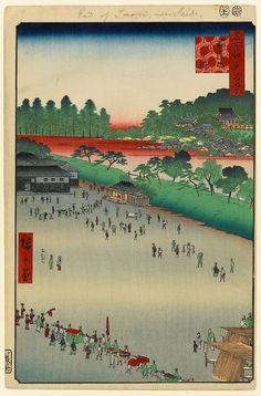 Hiroshige - One Hundred Famous Views of Edo Spring 9 Yatsukōji, Inside Sujikai Gate (筋違内八ツ小路 Sujikai uchi Yatsukōji?)Yatsukōji junction, Kanda River, Kanda ShrineOne of the few open spaces in Edo, created as fire-breaks1857 / 11Kandata-chō, Chiyoda