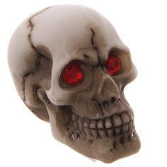Small Skull Head Ornament Red Eyed Decoration by getgiftideas