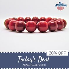 Today Only! 20% OFF this item.  Follow us on Pinterest to be the first to see our exciting Daily Deals. Today's Product: Sale -  American Pride Bracelet Red Patriotic Bracelet Red Coral American Patriotic Bracelet Handmade in USA Red Coral Bracelet Red Coral Je Buy now: https://www.etsy.com/listing/513653299?utm_source=Pinterest&utm_medium=Orangetwig_Marketing&utm_campaign=RED%20%20WHITE%20%26%20BLUE%20DAILY%20SALE #etsy #etsyseller #etsyshop #etsylove #etsyfinds #etsygifts #musthave #loveit…
