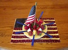 The 4th of July is more fun with strawberries dipped in a  dolci frutta white shell and served on a colored plastic spoon.  It can make a centerpiece or you could make several plates and strategically place them around your picnic area.