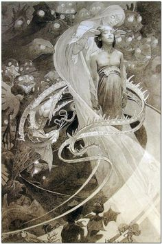 """The first press of Le Pater by Alphonse Mucha. """"Mucha considered Le Pater his printed masterpiece, and referred to it in the January 5, 1900 issue of The Sun Newspaper (New York) as the thing he had """"put [his] soul into"""". Printed on December 20, 1899, Le Pater was Mucha's occult examination of the themes of The Lord's Prayer and only 510 copies were produced."""