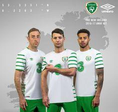 New Republic of Ireland Away Jersey Euro 2016 by Umbro Ireland Euro 2016, International Soccer, Uefa Euro 2016, Football Fashion, Celtic Fc, Team Wear, Soccer World, Football Kits, Republic Of Ireland