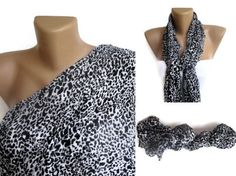 spring celebration ,black and white scarf , leopard print fashion scarves, women accessories on Etsy, $12.90