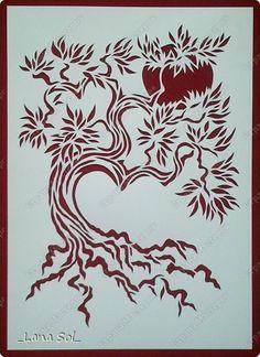 Картина панно рисунок День семьи Вырезание Древо семейного благополучия Бумага фото 1