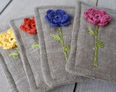 Coasters set of two made of linen/sewing crocheted by sandrastju