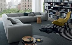 elegant gray sofa corner sofa ideas gray carpet bookshelves trendy living room