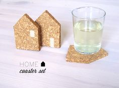 diy house shaped coasters (or any shape you like - how about a heart or your initial) thinking of gold paint or glitter ?
