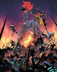Robin has a new member in mind for Teen Titans and it's Superboy! later, Super Sons visits another dimension to fight monster maker Kraklow! Dc Universe Rebirth, Dc Rebirth, Son Of Batman, Superman Family, League Of Assassins, Jon Kent, Dc Comics Characters, Damian Wayne, Dc Heroes