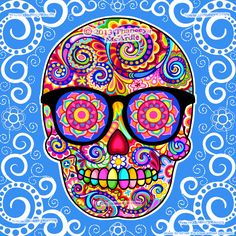 Hipster Sugar Skull Art by Thaneeya McArdle, created using the iPad apps Procreate and iDraw