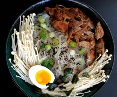 This pork Paleo ramen incorporates enoki mushrooms and yam noodles into a nutrient-rich broth, finishing with authentic Japanese toppings.  http://stalkerville.net/ #paleo