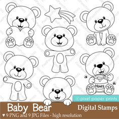 Baby Bear Digital Stamps от pixelpaperprints на Etsy