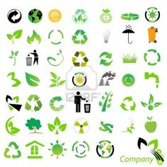 Illustration of set of environmental / recycling icons and logos vector art, clipart and stock vectors. Graphic Design Brochure, Logo Design, Recycling Logo, Environment Logo, Logos, Earth Logo, Leaf Logo, Illustration, Tattoos