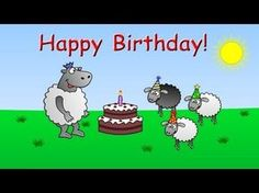 ▶ Happy Birthday - funny animated sheep cartoon (video greeting song with cake !!) - YouTube