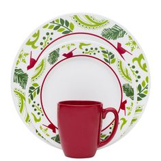 Visit Corelle® for an Impressions™ Birds \u0026 Boughs Set. This dinnerware set has holiday inspired red birds floating along the edges.  sc 1 st  Pinterest & Vintage 1987 Corning Ware Corelle Christmas by GrandesTreasures ...