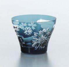 ** Sklenička na drink - modré, broušené sklo ♣ Kiriko **