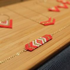 Bracelet  Lima palqué or 14carats et perles Miyuki Rouge et or plaquées 24…