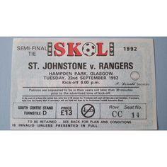 St Johnstone v Rangers Football Ticket Stub 22/09/1992 Semi Final Skol Cup Listing in the Scottish Club Leagues & Cups,Ticket Stubs,Football (Soccer),Memorabilia & Fan Store,Sport Memorabilia & Cards Category on eBid United Kingdom