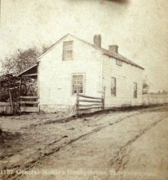 General Meade's Headquaters Taneytown Road Gettysburg battlefield. Original stereoview from The Gettysburg Museum of History archives circa last quarter of the 19th century. Published by Webster.