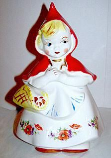 """Hull Pottery - Little Red Riding Hood - #967 Cookie Jar - Original 1940's  13"""" Tall"""
