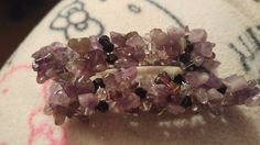 Hair barrettes with swarovski crystals and amethyst chips