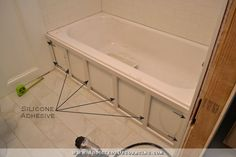 how to build a tub skirt - step 2 - attach frame to the tub with silicone adhesive remodel diy DIY Tub Skirt (Decorative Panel) For A Standard Soaking Tub Diy Bathroom, Shower Remodel, Diy Remodel, Bathroom Makeover, Restroom Remodel, Diy Bathroom Remodel, Bathroom Renovations, Small Remodel, Bathroom Design
