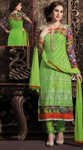Lovely light green georgette long churidar kameez which is decorated with resham embroidery work all over, printed work on the sleeves and crosia work on the border. This outfit comes with matching bottom and dupatta. This Salwar Kameez can be stitched in the maximum bust size of 40 inches and kameez length is 46 inches...