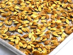 Delicious and Nutritious Roasted Pumpkin Seeds! My favorite way is to roast them with heart healthy olive oil and season with a little salt.