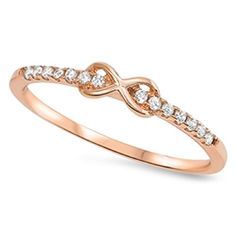 Rose Gold Plated Infinity Love Cute Ring New 925 Sterling Silver CZ Band Sizes 412 11 *** Learn more by visiting the image link.(This is an Amazon affiliate link)