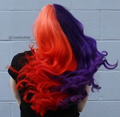 This but like an ombre ❤️❤️❤️ Half Dyed Hair, Half And Half Hair, Split Dyed Hair, Dye My Hair, Beautiful Hair Color, Cool Hair Color, Pelo Multicolor, Two Toned Hair, Neon Hair