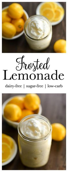Creamy and refreshing dairy-free, sugar-free mock Chick-Fil-A Frosted Lemonade. Makes 1 quart serving or smaller servings to share. Trim Healthy Mamas (FP)