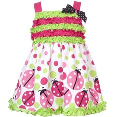 Amazon.com: Size-6M RRE-47012S 2-Piece FUCHSIA-PINK GREEN RUFFLE DOTS and LADYBUG BORDER PRINT Spring Summer Party Dress,S647012 Rare Editions Baby/NEWBORN: Clothing