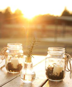 outdoor table centerpieces: candles and moss in mason jars and rosemary in lightbulbs (you can get these at Hobby Lobby!)