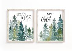 Woodland Nursery Print Boy Wall Art Nursery Wall Art Tree | Etsy