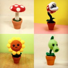 Potted needle felted items are back in store! Custom requests are also welcome :D najmetender.etsy.com #crafts #diy #handmade #needlefelt #needlefelting #felting #pvz #plantsvszombies #gaming #nintendo #piranhaplant #sunflower