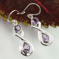 Indian Artisan Earrings 925 Sterling Silver Genuine AMETHYST Gemstones Best Gift #SunriseJewellers #DropDangle