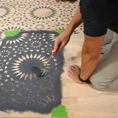 Learn how Weaber Lumber stenciled a hardwood floor using the Ambrosia Moroccan Tile Stencil from Cutting Edge Stencils