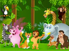 Animals Of The Jungle Cartoon Children's Wall Mural | ohpopsi Wallpaper
