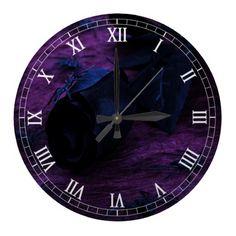 Black Rose Round Roman Numerals Clock #halloween