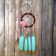"""Pink and Mint Green 3"""" Dream Catcher: Car Dream Catcher by DreamDen on Etsy https://www.etsy.com/listing/181456546/pink-and-mint-green-3-dream-catcher-car"""