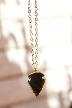Arrowhead obsidian long necklace by PanachebyAmanda on Etsy, $52.00