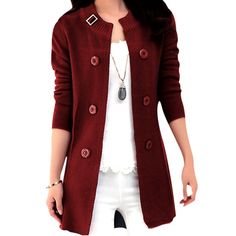 Ladylike Knit Coat Burgundy