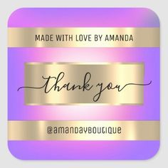 Thank You Shopping Custom Holograph Pink Purple Square Sticker Anniversary Party Favors, Wedding Anniversary, Bridal Shower Favors, Love Is Sweet, Business Supplies, Custom Stickers, Pink Purple, Keep It Cleaner, Holiday Cards