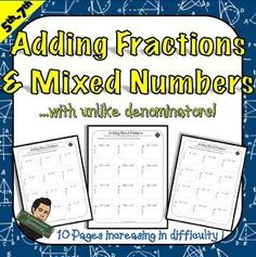 Adding Mixed Numbers and Fractions with Unlike... by Eric's Elementary Resource Store  | Teachers Pay Teachers