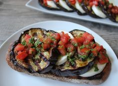 Grilled Eggplant with Fresh Mozzarella, Tomatoes and Basil Vinaigrette. Try serving it on grilled country bread! #SummerFest #Eggplant