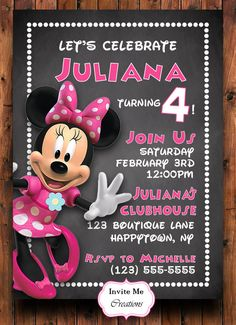 Minnie Mouse Birthday Invitation Minnie Mouse Invite Pink Minnie Mouse Birthday Invitations, Minnie Mouse 1st Birthday, 3rd Birthday Parties, 4th Birthday, Olaf Party, Mini Mouse, Reveal Parties, Akira, First Birthdays