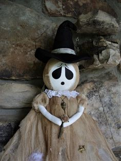"""OOAK Primitive HALLOWEEN Folk Art Tattered Goth Ghost Witch Doll 48"""" * POPPYWISE #NaivePrimitive"""