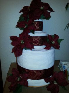 Towel cake!  Giving towels as a gift is boring so I tried to make it look nicer by making a cake (for a bridal shower)