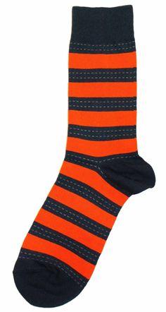 Orange Navy Stripe Pattern Mens Dress Sock, Fun socks for the groom, so he doesn't get cold feet.